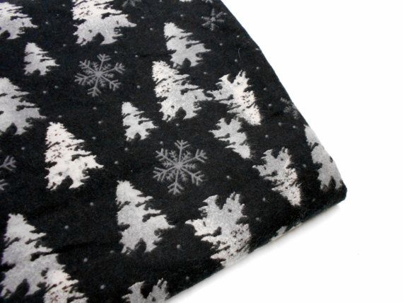 Black Flannel Fabric, 1 yard Remnant, Snowflakes and Snowy Trees, Holiday Print Fabrics, Sewing Material $8.00 from Stitchknit on Etsy