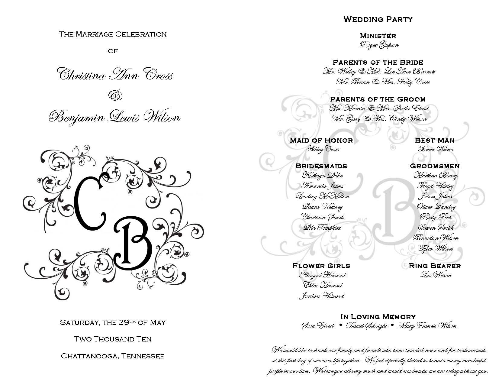 Printable wedding programs on pinterest free printable for Free wedding program templates
