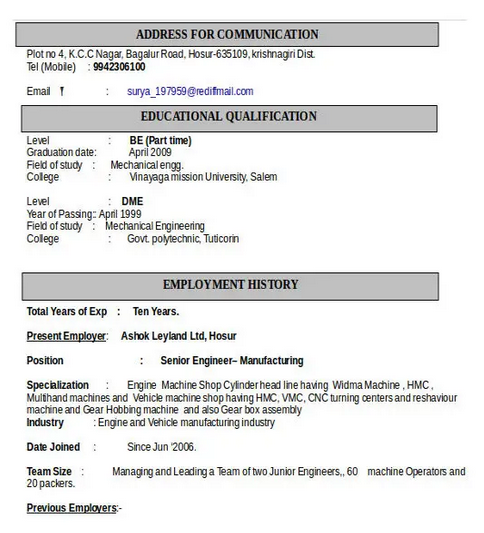10 Automobile Fresher Resume Format Resume Resume Format Automobile Engineering