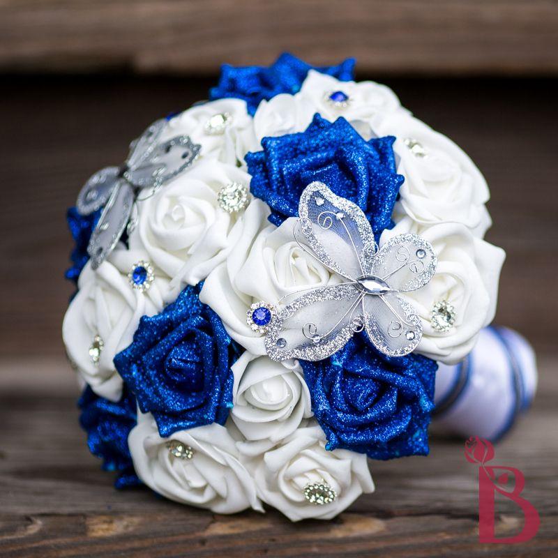 Royal Blue Silk Wedding Bouquet, Silver Butterflies