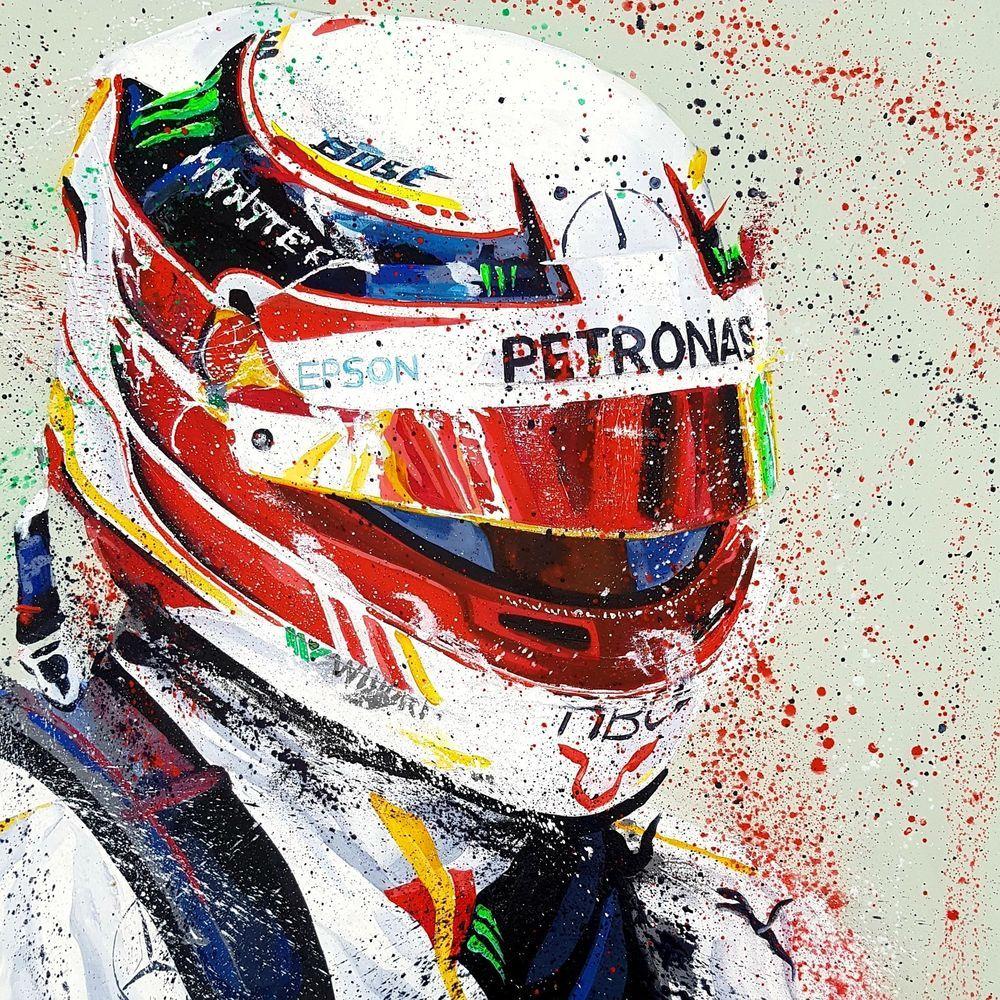 Lewis Hamilton F1 Formula 1 Art By Sean Wales Portrait Painting Original Art Motorsport Art Portrait Painting