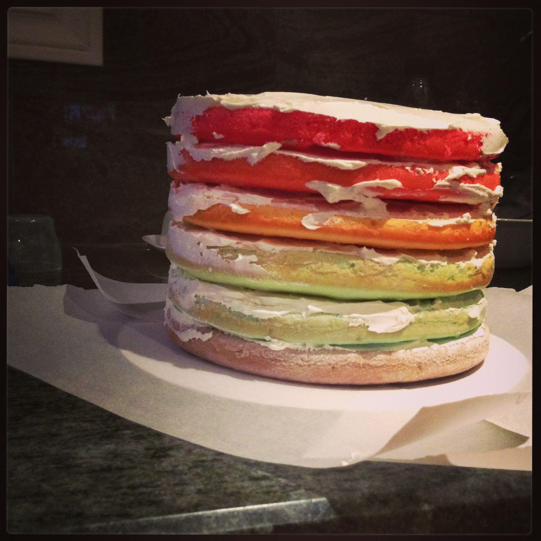 Rainbow cake Idea from Martha Stewarts whisk kid rainbow cake