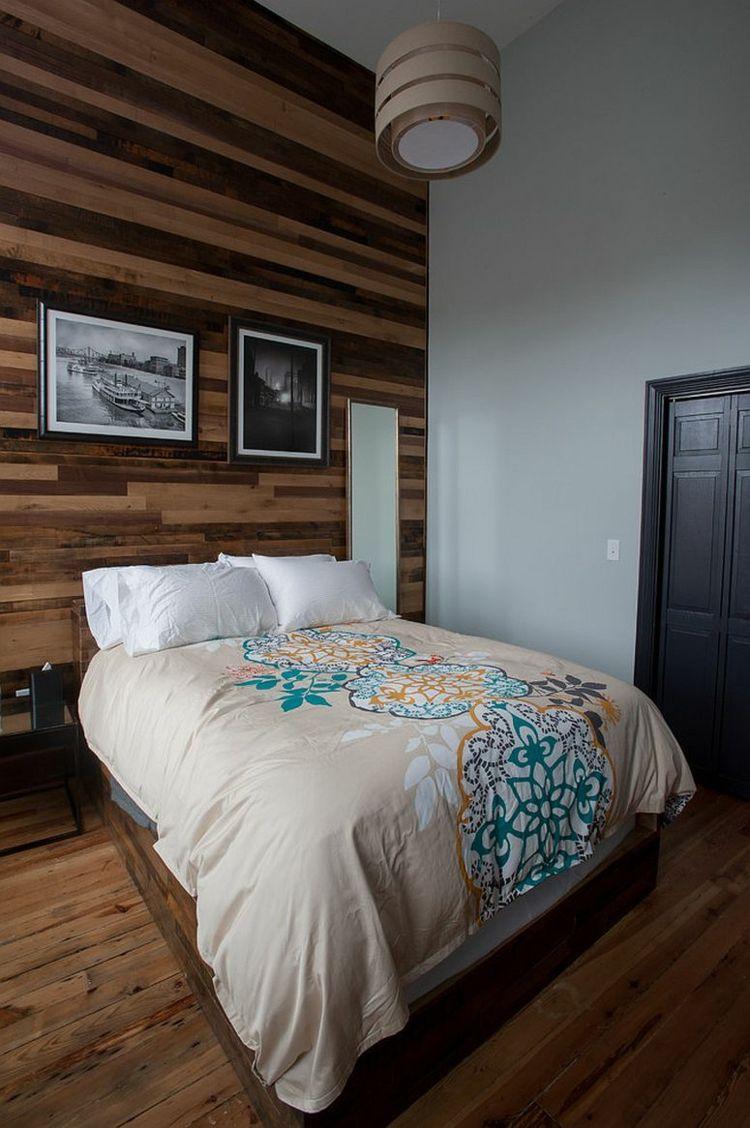 bescheidenes schlafzimmer design dunkelbraune holzwand holzboden, Schlafzimmer entwurf