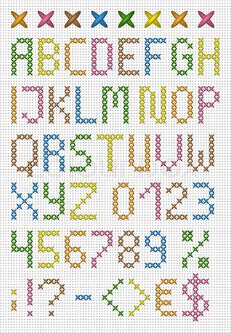 Grafiken Von Colorful Cross Stitch Uppercase English Alphabet Digit