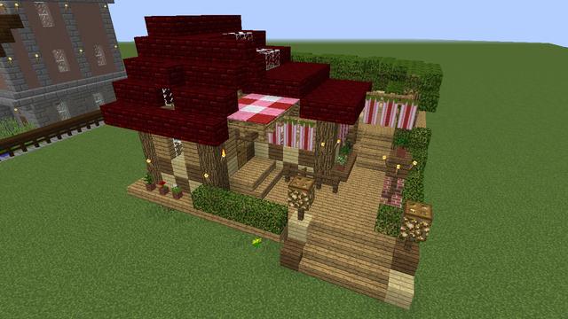 16ハウス 17 小さなカフェ 設計図あり 小さなカフェ マイクラ 木 ハウス