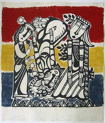 Japanese Art by the artist Sadao Watanabe | Lamentation Over the Body of Christ 1962