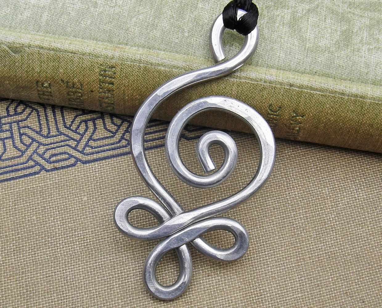 Big Celtic Pendant Necklace Aluminum Budding Spiral Light Etsy Silver Wire Jewelry Celtic Pendant Celtic Jewelry