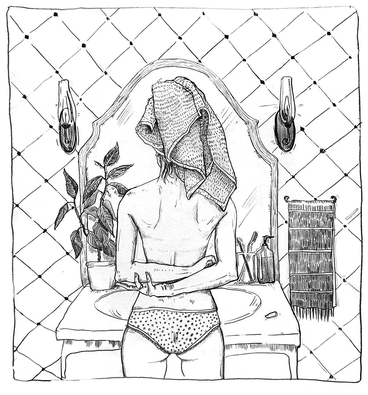 Bathroom illustration on Behance by Karina Yashagina