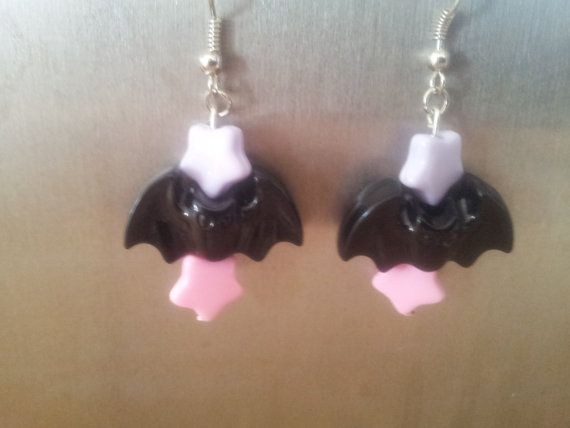 Pastel Goth/Creepy cute bat earrings by KawaiiPretty on Etsy, $7.50