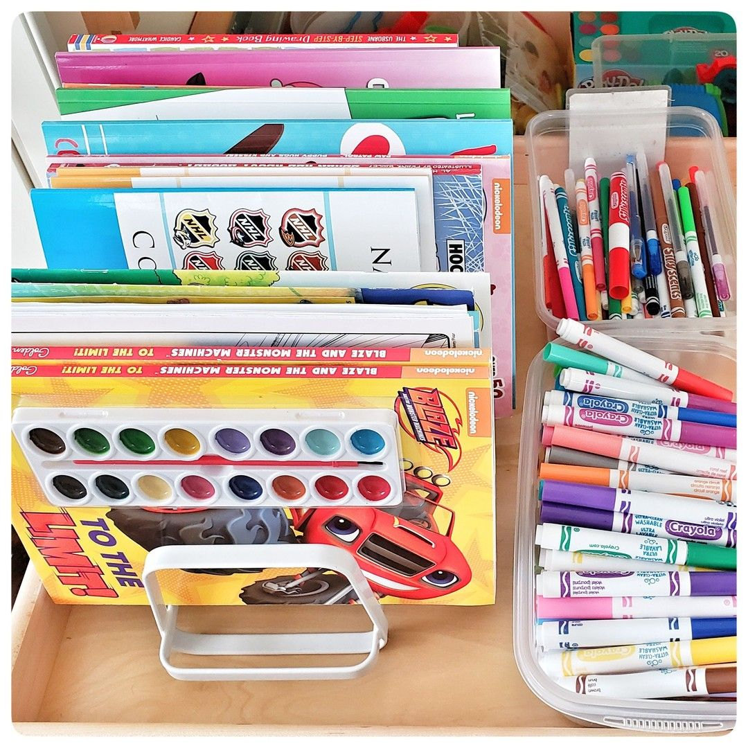 Use A Pot Lid Rack To Store Coloring Books Vertically A Quick And Easy Way To Organize Colorin Creative Organization Organization Kids Organization Solutions