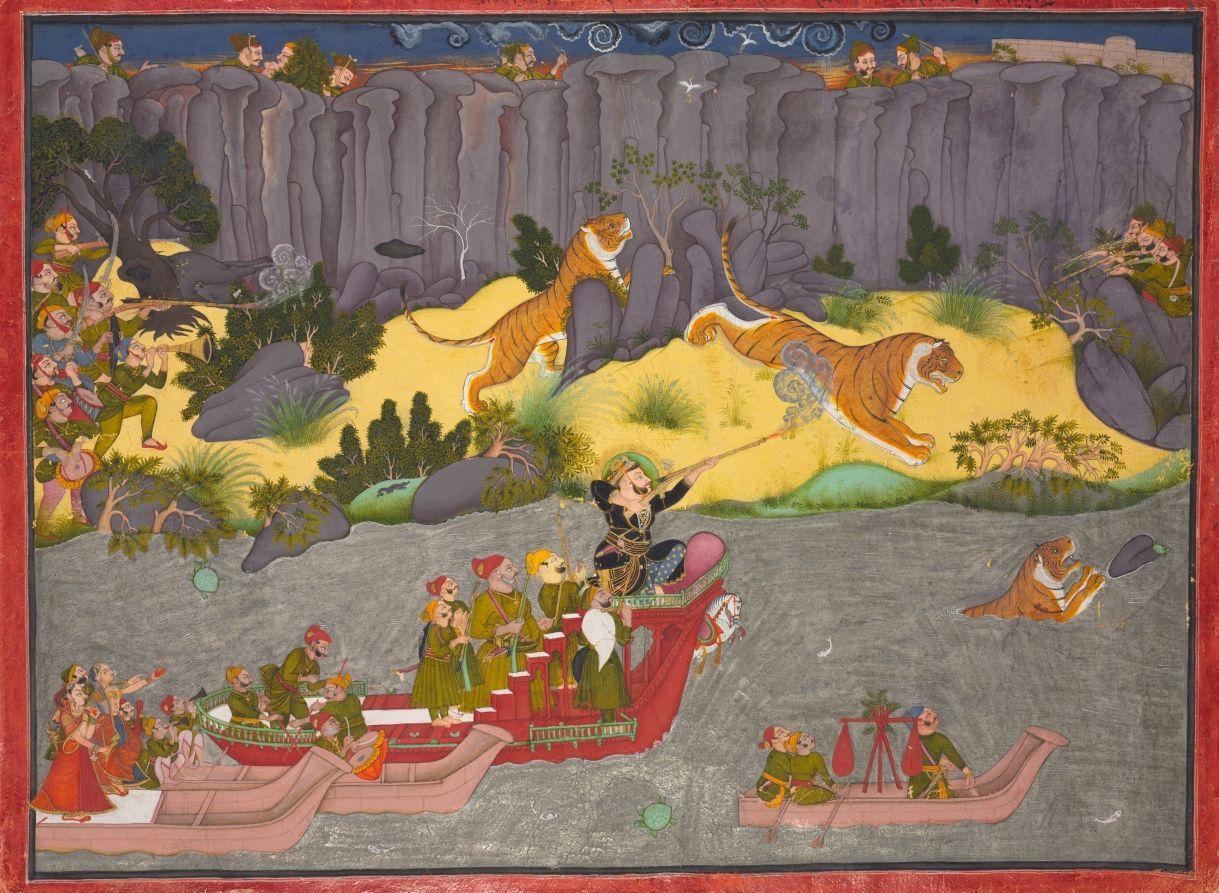 Tiger Hunt Of Raja Ram Singh Ii . 1830-1840 Northern