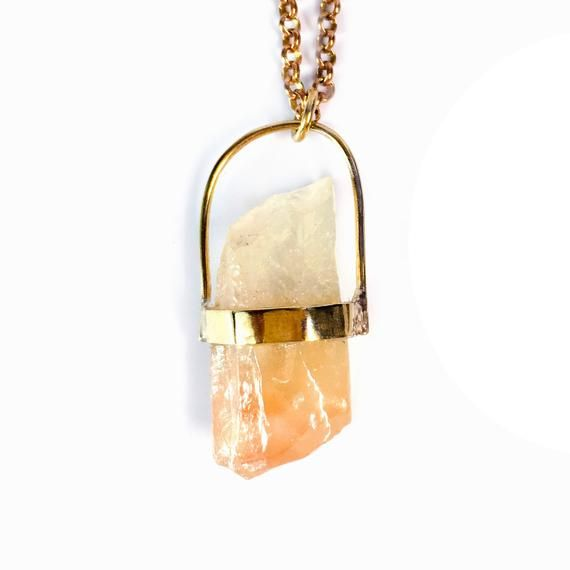 Honey Orange Quartz Necklace - Calcite Necklace - Natural Gemstone - OOAK Necklace - Boho Necklace - #quartznecklace