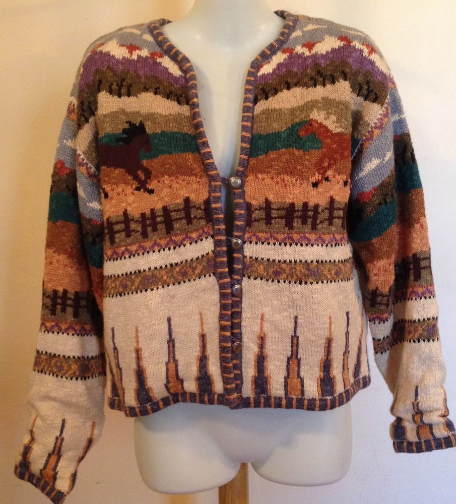 ca412f38cfb Details about Icelandic Design Sweater Women's Sz L Cardigan Jacket ...