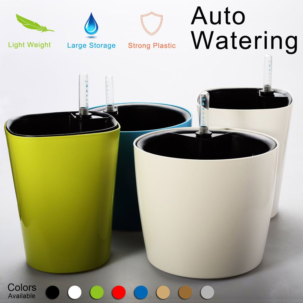 The big list of self watering planters for stylish gardening anywhere - Self Watering Planter Flower Pot Water Storage Level Indicator Home Garden