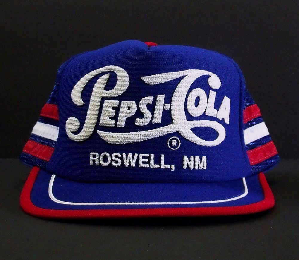 Pepsi Cola Vintage 80s Hat Trucker Roswell NM New Mexico Mesh Snapback USA  Cap BaseballCap 46ad0cdd5e68
