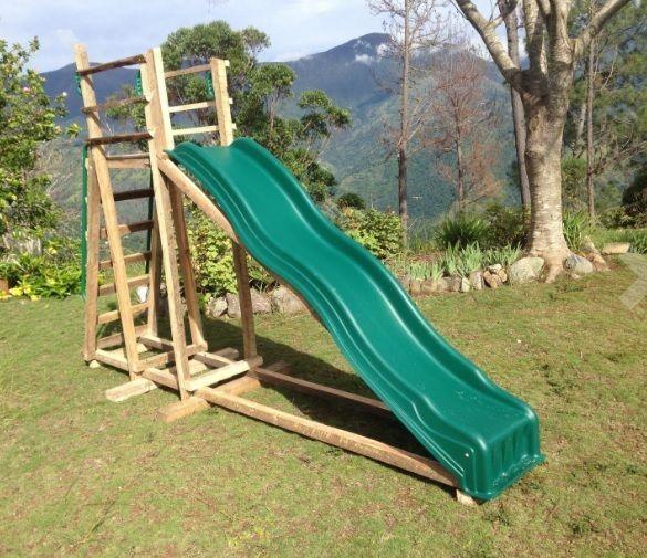 Kids 7 Foot Wave Plastic Slide Backyard Play Set ...