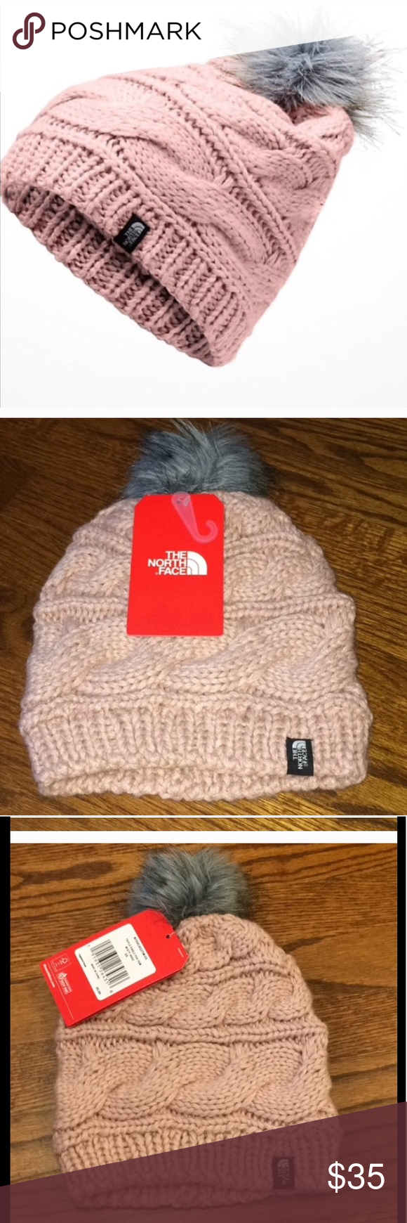 The North Face triple cable fur Pom beanie NWT o s Brand new 🆕‼ Never worn  in perfect condition all tags attached👍 This North Face beanie is in dusty  ... 909cf2584b84