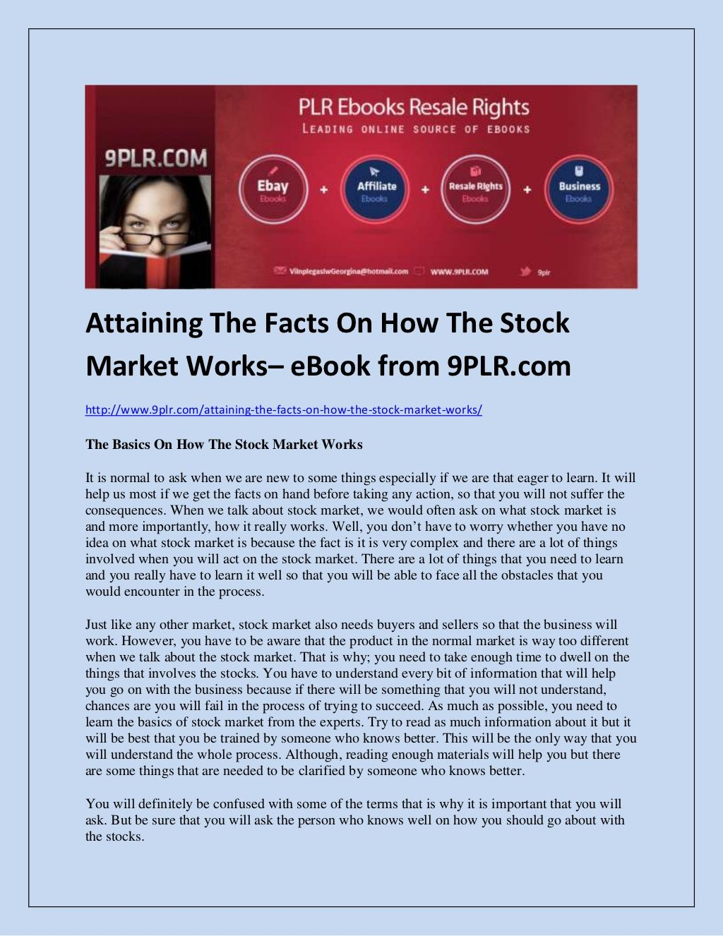 Attaining The Facts On How The Stock Market Works eBook