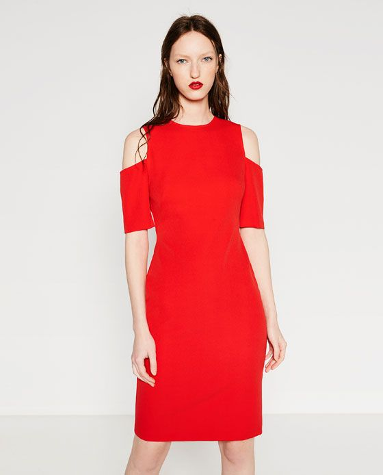 67265159 Your perfect little red dress for date night! The SHIFT DRESS WITH CUT-OUT  SHOULDERS from Zara