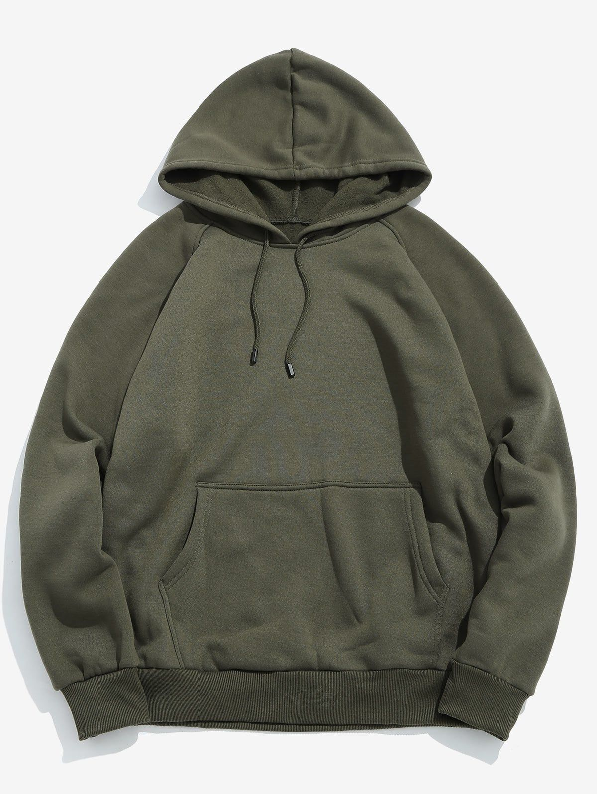 Basic Solid Pouch Pocket Fleece Hoodie Army Green Green Hoodie Men Fleece Hoodie Basic Hoodie [ 1596 x 1200 Pixel ]