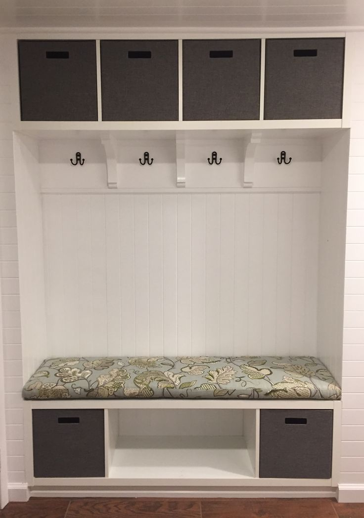 Our Ikea Hack Mudroom Bench We Used Two Kallax Shelves Paneling