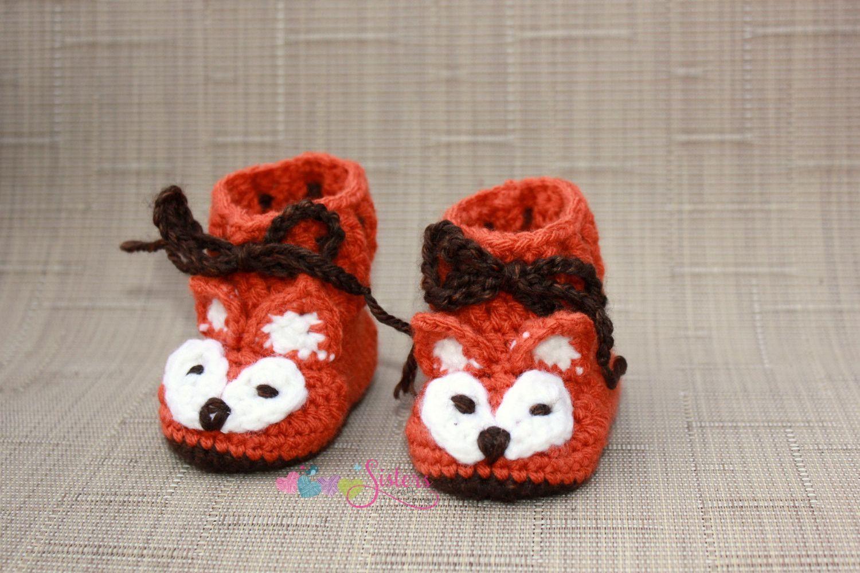 Fox Baby Booties - Fox Booties - Crochet Baby Booties - Crochet Fox ...