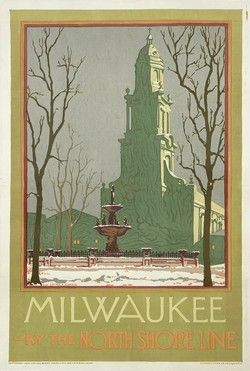 Poster Plus Products - Arthur A. Johnson, Milwaukee by the North Shore Line - Numbered Limited Edition.  Johnson's 1925 poster promotes travel to Milwaukee, Wisconsin from Chicago, Illinois on the North Shore Line Railroad. The image depicts a snow-covered park against the background of  Milwaukee's historic Cathedral of St. John the Evangelist.
