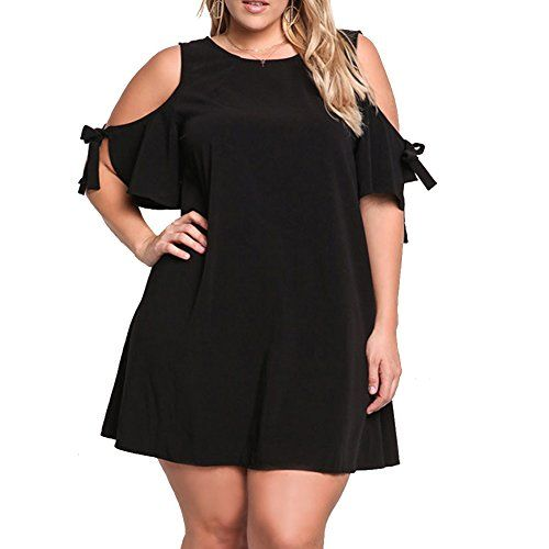 fb8c922cf93 Pyramid Time Systems Pyramid Top Women s Plus Size Cut Out Cold Shoulder  Casual Jersey Swing Party Dress
