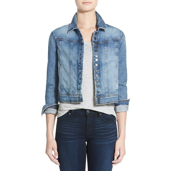Joe's 'Collector's Edition' Crop Denim Jacket (2.355 NOK) ❤ liked on Polyvore featuring outerwear, jackets, shaye, denim jacket, long sleeve crop jacket, long sleeve jacket, blue jean jacket and blue denim jacket