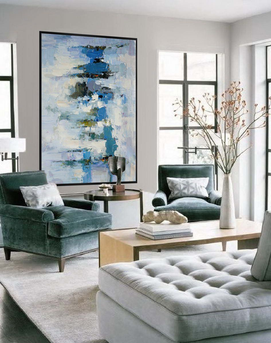 extra large palette knife acrylic painting on canvas on modern acrylic paintings for living room id=27063