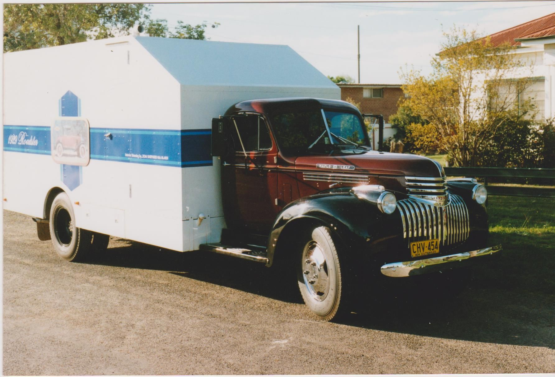 1946 chevrolet maple leaf truck fitted with a 454 v8 transporter for two 1929 chevrolet