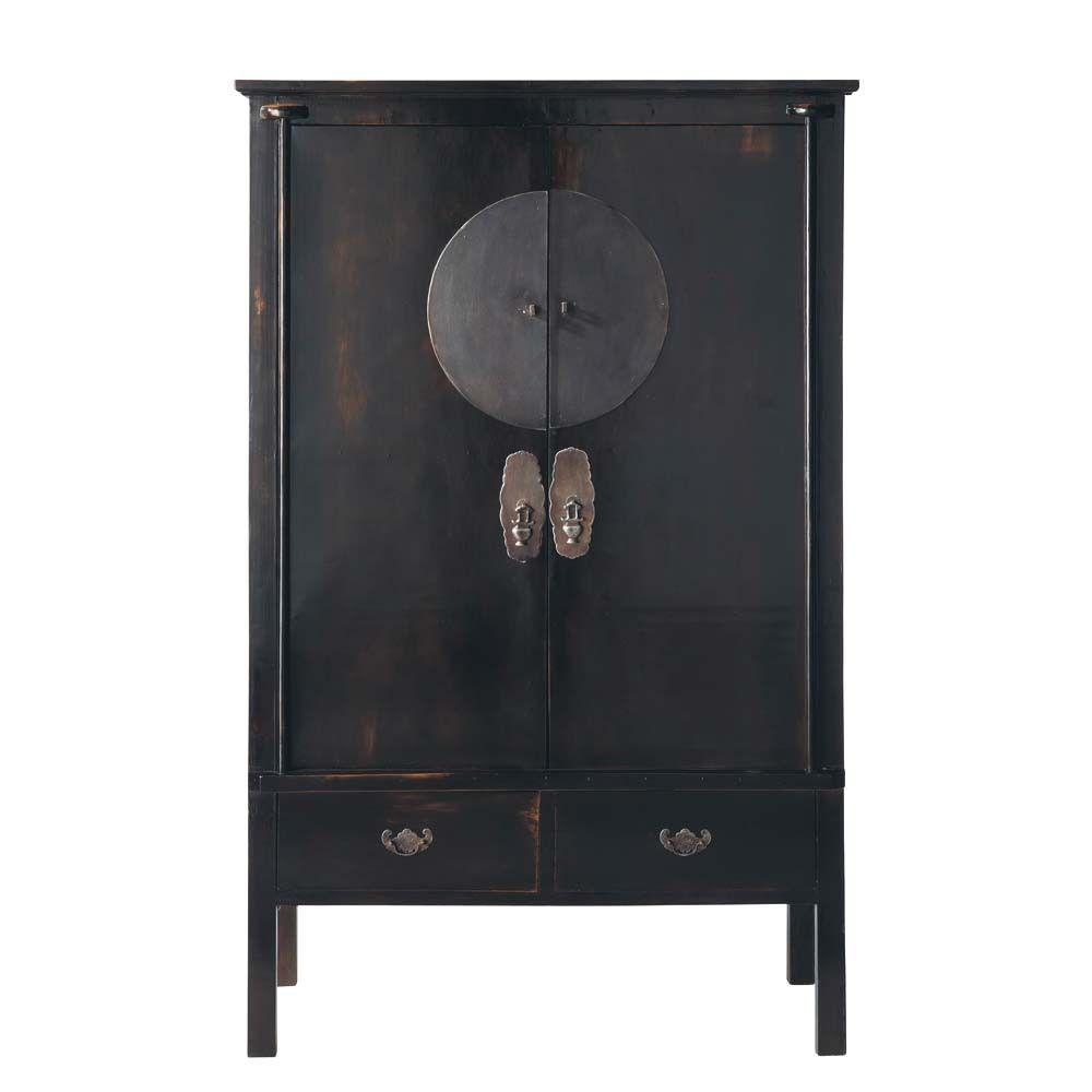 Armoire En Bois Noir L 117 Cm 衣柜 Armoire Furniture Home