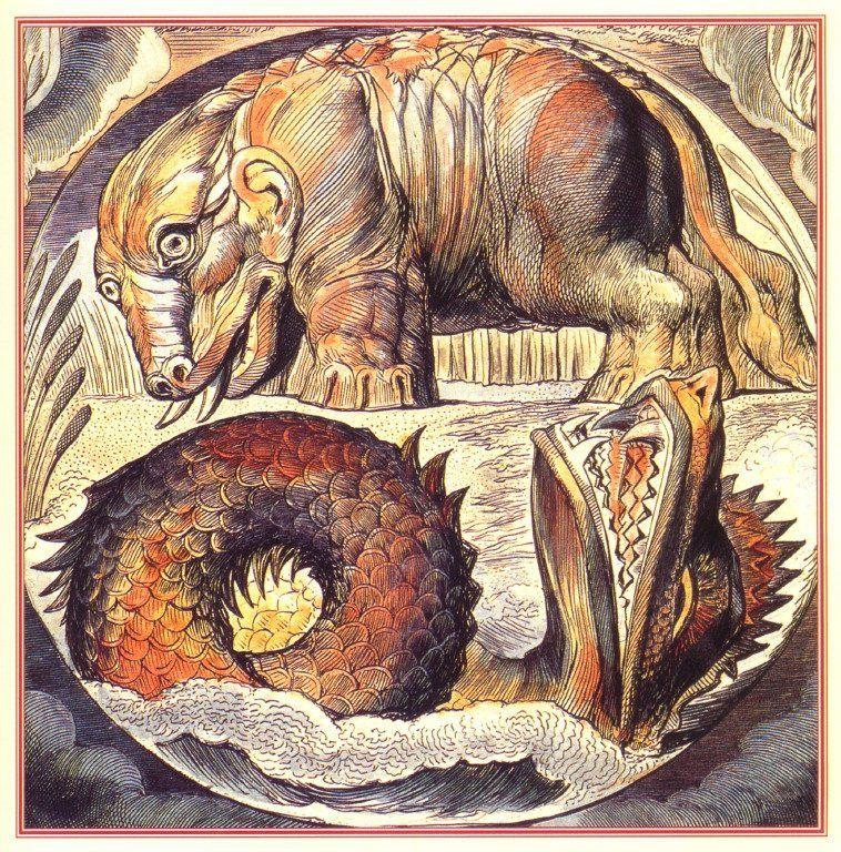 William Blake – Behemoth and Leviathan | Sea monsters, Mythical creatures art, William blake art