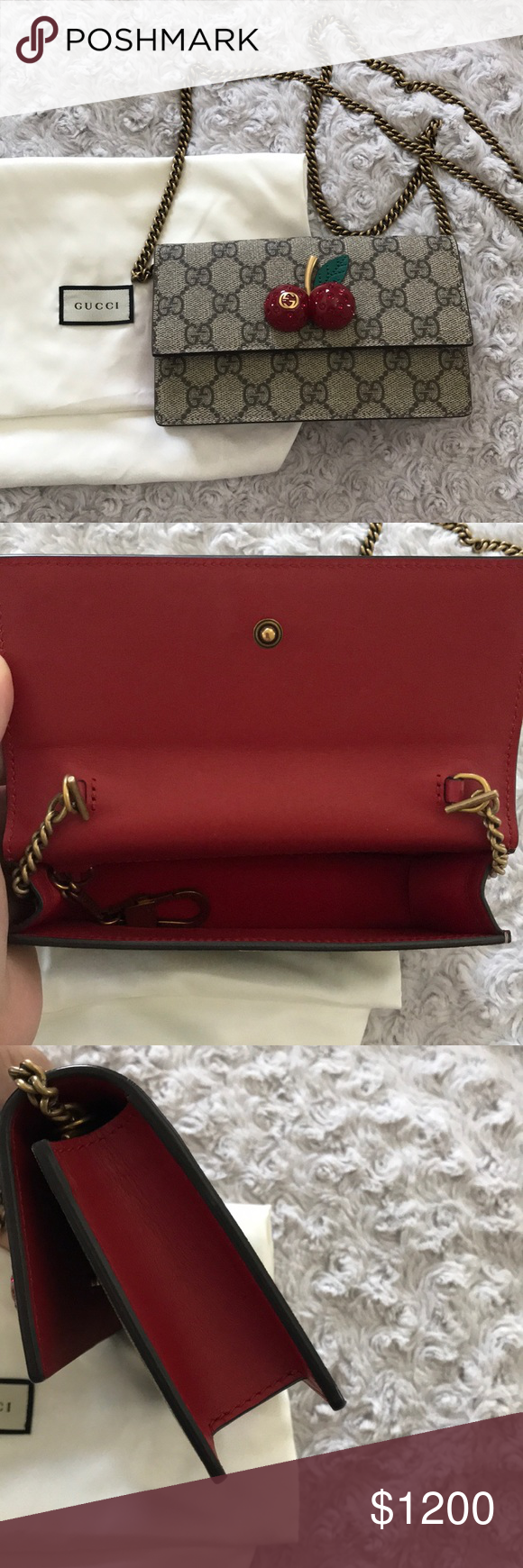 120466335 Gucci Supreme Cherry signature bag NWT New with tags. Includes receipt and  dust bag.