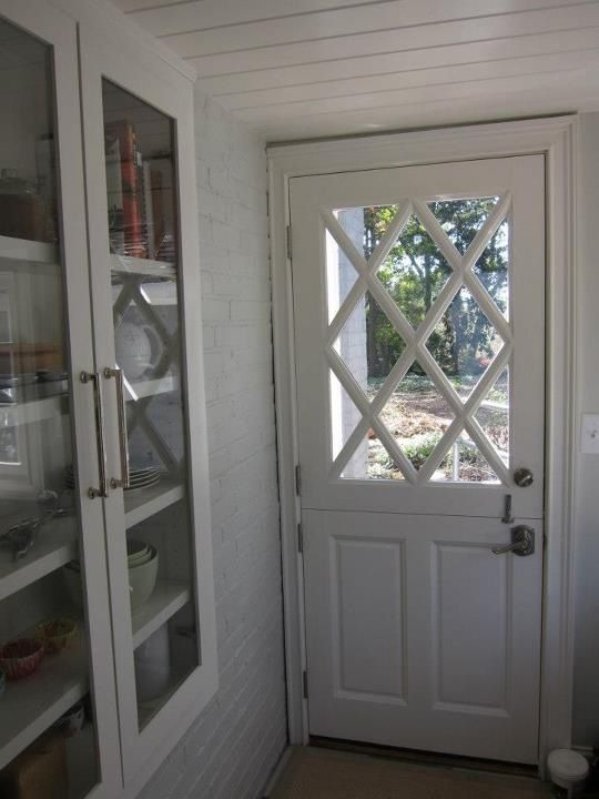 Custom Dutch Door With Criss Cross Window And Built In