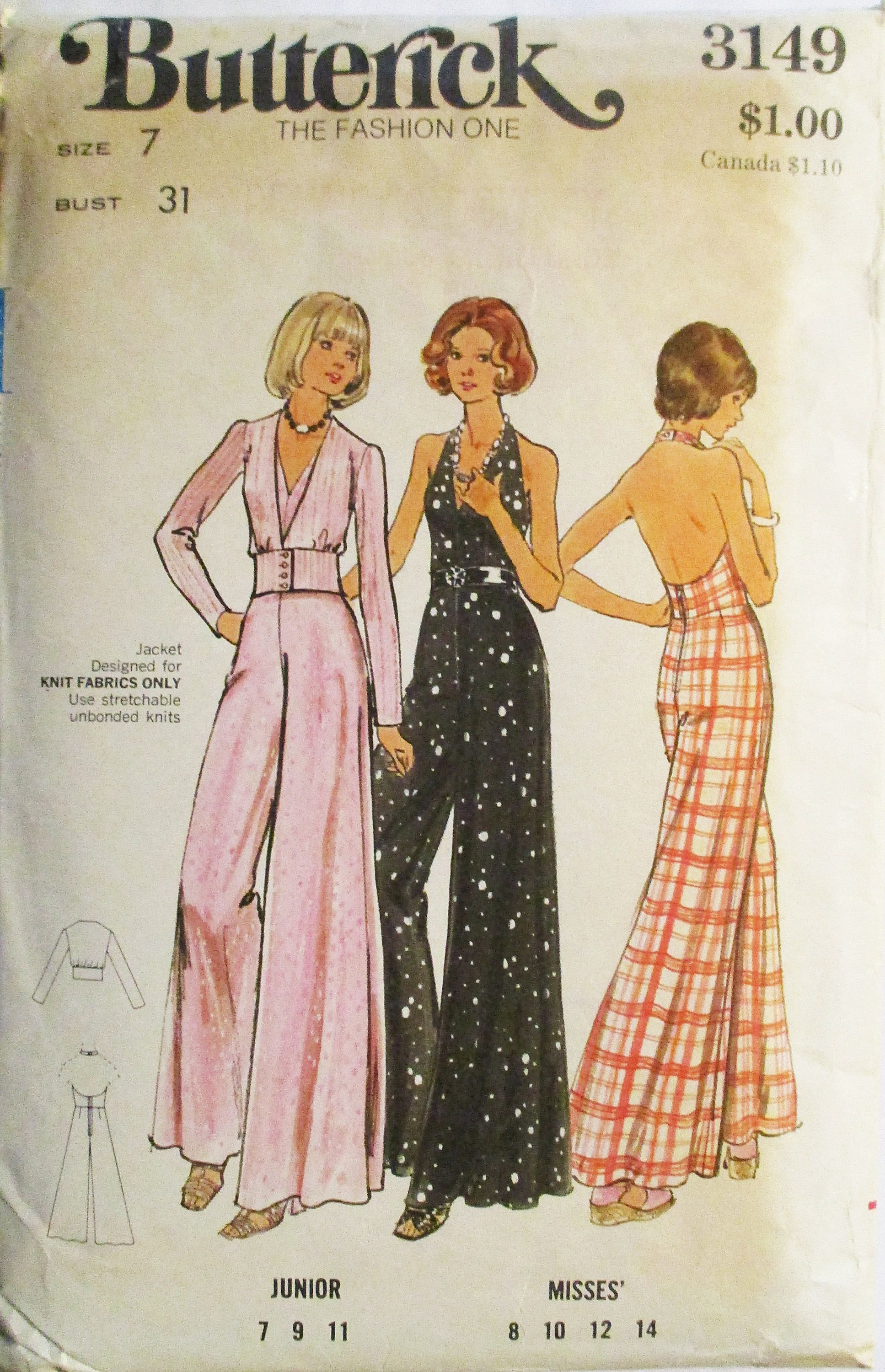 1970s Vintage Sewing Pattern Butterick 3149 Juniors Disco Halter
