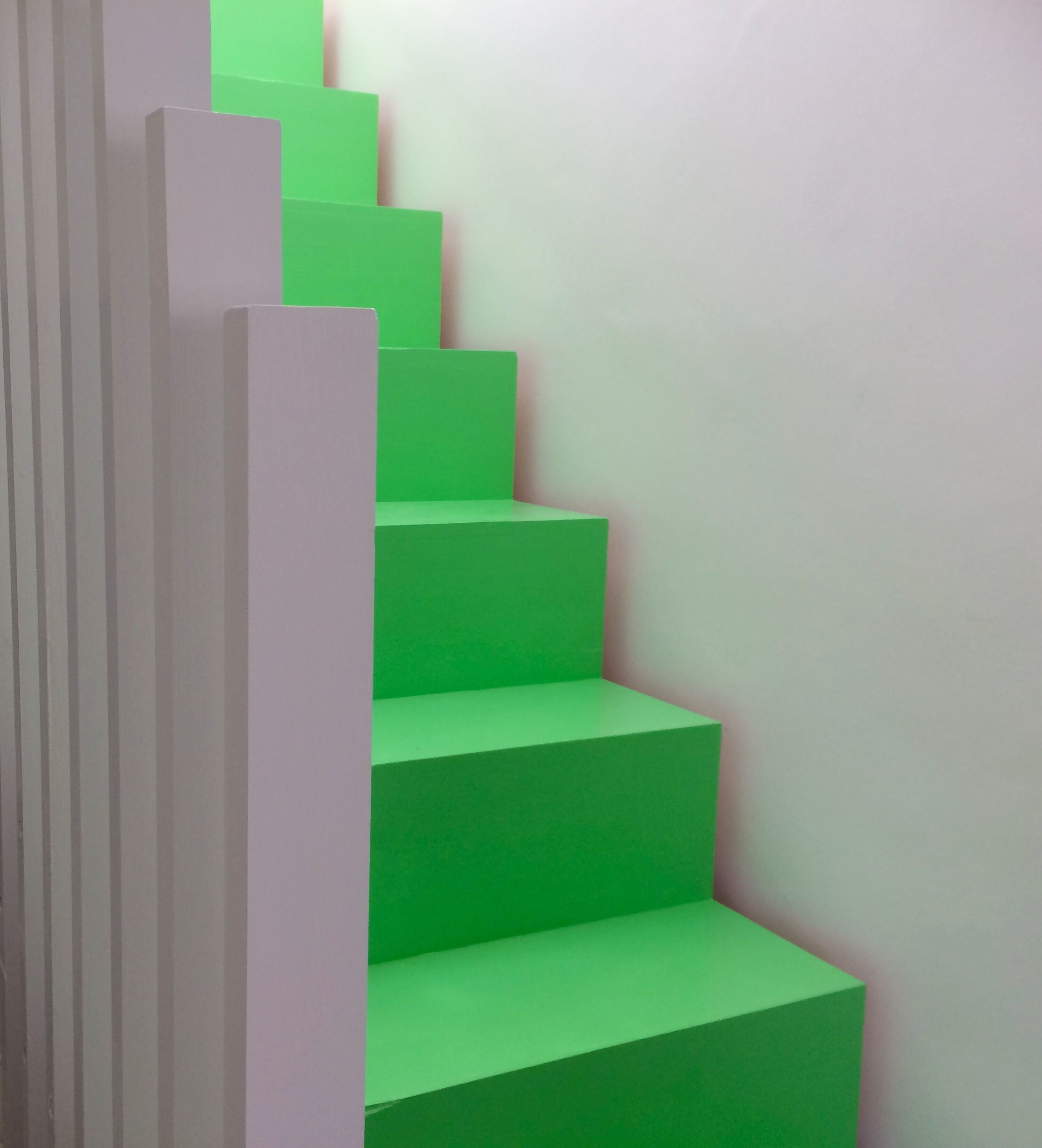 Green Painted Stair With Cut Strings, No Nosing And Shadow