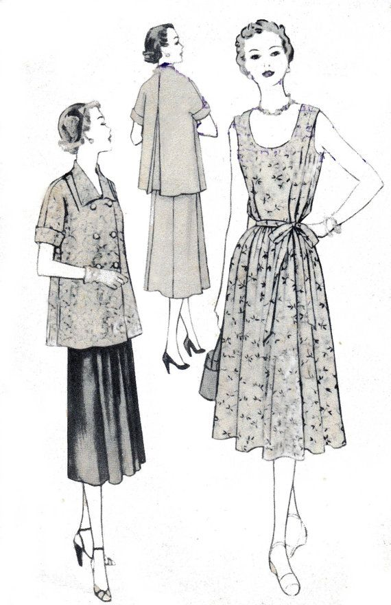 50s Vintage Maternity Sewing Pattern Dress by allthepreciousthings ...