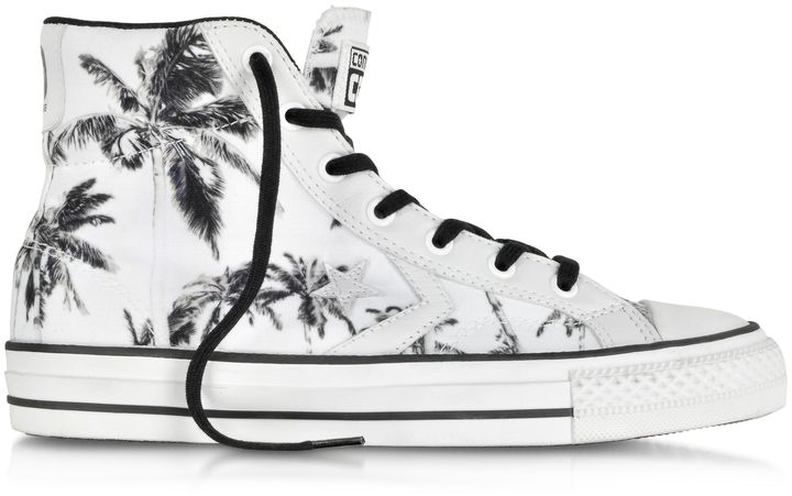 6fd3425ffc8a16 Converse Limited Edition Star Player Ev High Top Optical White Black Palms  Printed Canvas and Leather Sneaker