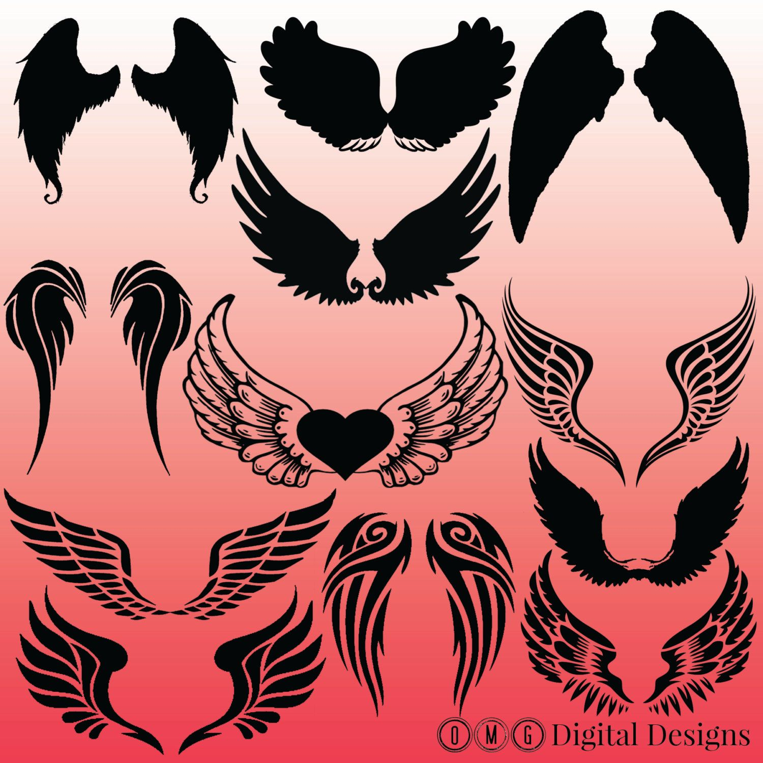 12 Angel Wings Silhouette Images, Digital Clipart Images, Clipart ...