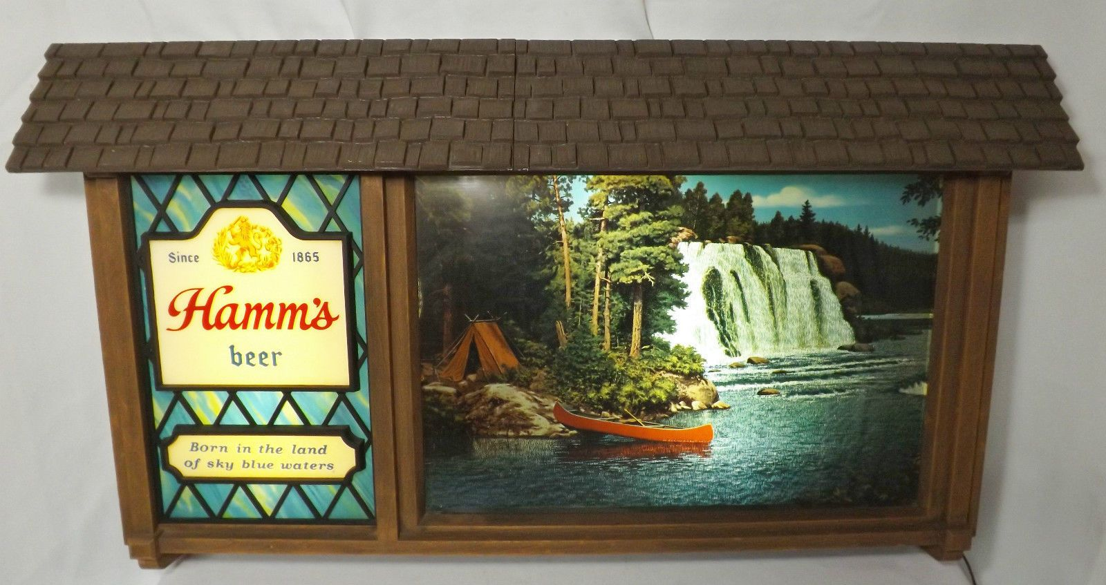 Vintage Hamm\'s Beer Scenerama Scene O Rama Lighted Motion Sign \