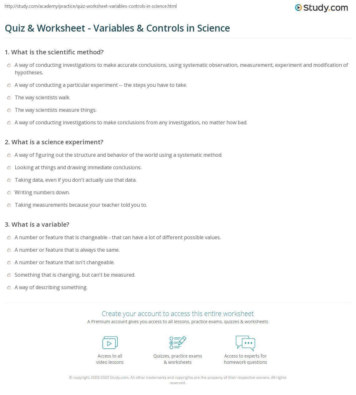 Scientific Method Story Worksheet Science Variables