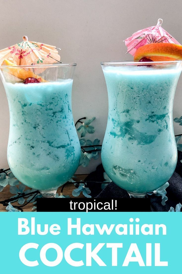 A Blue Hawaiian cocktail is basically a pina colada that is blue! The perfect Summer vacation drink.   #drinks #hawaiianfoodrecipes