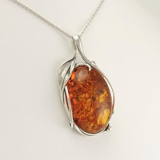 Sterling Silver Amber Large Pendant