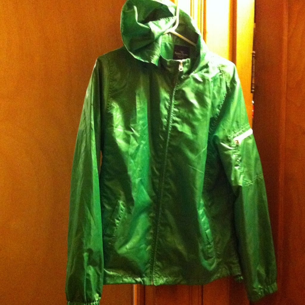 Green With White Zippers. Wind Breaker With Hood