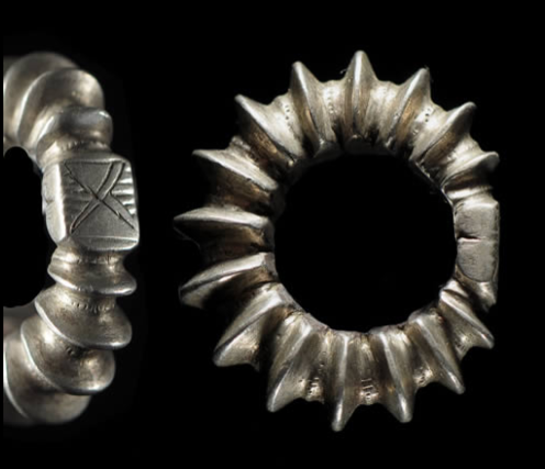 Africa | Hair adornment rings from the Fulani people of Mali | Silver.
