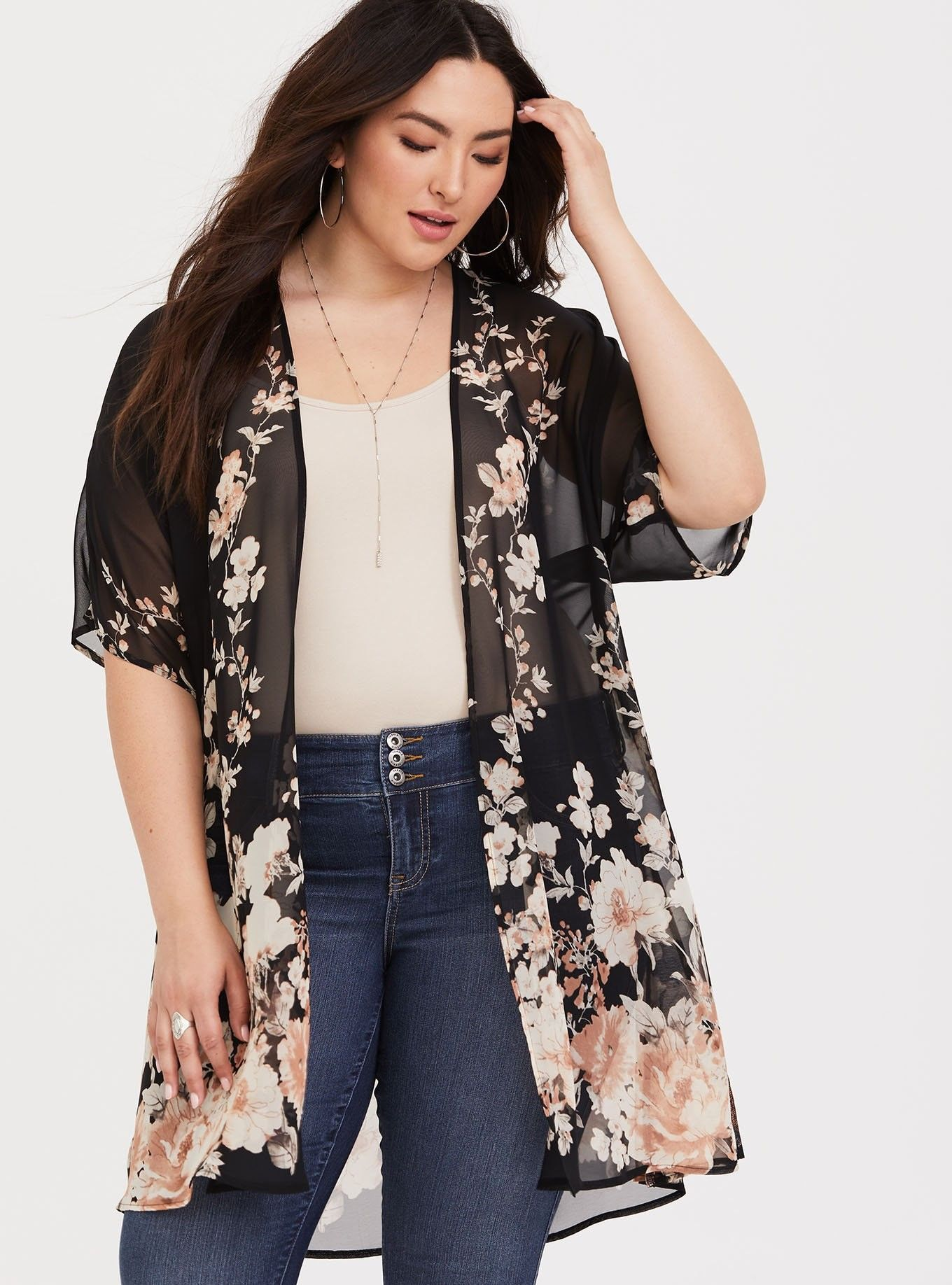 23fd4505685 Black Floral Chiffon Kimono - Split sides creates movement on a semi-sheer  kimono that wears with almost everything in your closet.