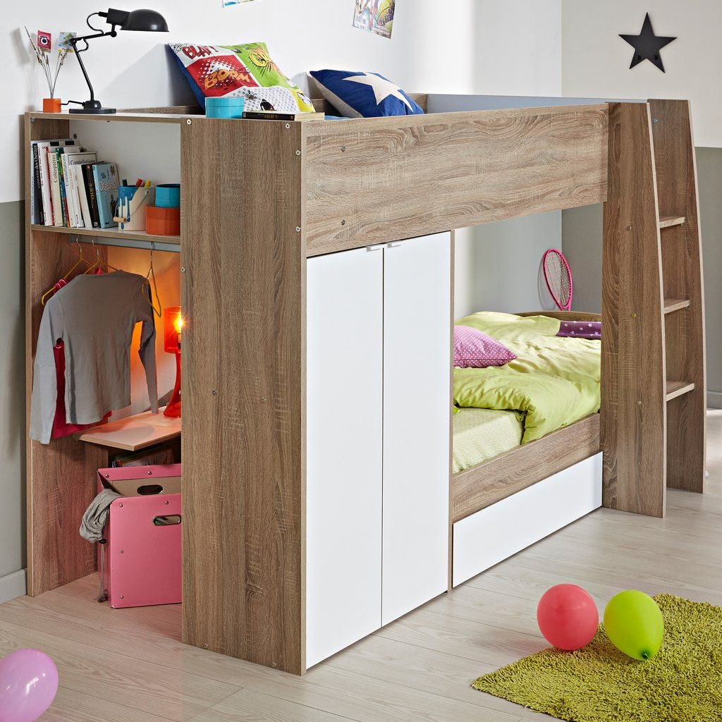 Parisot Stim Bunk Bed With Wardrobe White Wooden Bunk Beds
