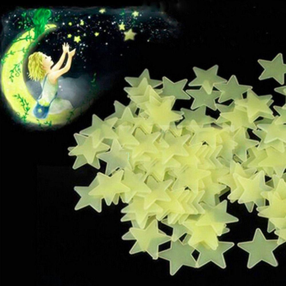 100Pcs Hot Home Wall Sticker Ceiling Glow Dark Stars Stickers Kids ...
