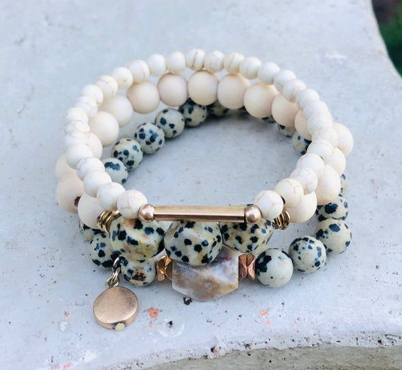 Dalmatian Bead Bracelet Set, Statement Jewelry, Gemstone Jewelry, Gift Ideas for Her, Unique Gifts for Her, Bridesmaids gifts